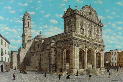 SASSARI - Cattedrale di San Nicola - olio su tela cm. 120x80