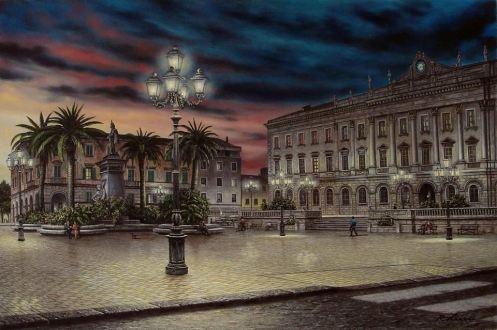 SASSARI - Piazza d'Italia - olio sui tela cm. 60x40